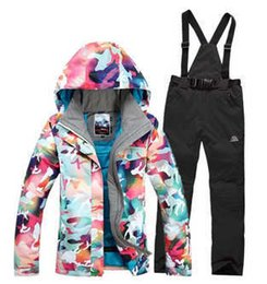 Wholesale Waterproof Ski Snowboard Jacket - Wholesale- 2016 High quality Winter Warm cotton dress Women Skiing Camouflage Jackets+Bib Pants Waterproof Snowboard suit sets