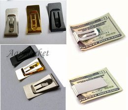 Wholesale Wooden Paper Clips - 50Pcs lot Wholesale Mini Stainless Steel Money Cash Clip Credit Card Holder Wallet Silver Black Gold DHL FEDEX SF UPS free shipping