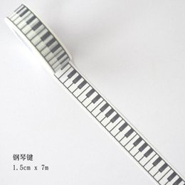 Wholesale New Scrapbooking Supplies - Wholesale- 2016 1Box New 1.5cm Wide The Keys of Piano Decorative Washi Tape DIY Scrapbooking Masking Tape School Office Supply H2008
