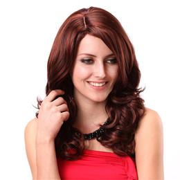 Rouge chimique en Ligne-Perruques longues de fibre chimique de vin longs cheveux bouclés rouges de mode faux cheveux