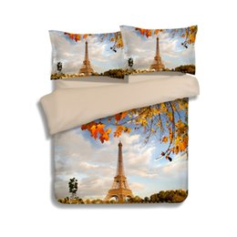 Wholesale Eiffel Tower Quilt Cover - New EIFFEL TOWER Duvet Cover Set 2PC-3PC Quilt Cover Pillowcase Twin Queen King 7 color optional