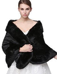 Wholesale Winter Wedding Dress Faux Fur - Clearbridal Women's Faux Fur Wrap Cape Stole Shawl Bolero Jacket Coat Shrug For Wedding Dress Winter 17014