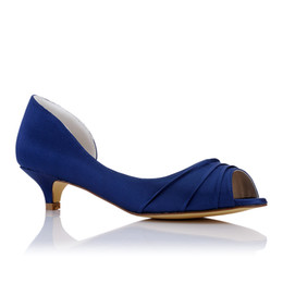 Wholesale Low Price Silver Heels - New Navy Blue color dress shoes 3cm hot Low heel pump closed shoe toe women bridal shoes made in China from size 35-42 for wholesale price