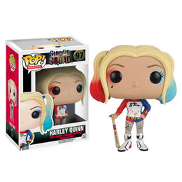 Wholesale Hot Joker - New hot sale FUNKO Pop Q Suicide Squad the joker harley quinn Boxed PVC Collection 10CM gift for children free Shipping