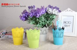 Wholesale Iron Out Wholesale - Multi-functional candy color candy box Hollow out lace iron drum Decoration wrought iron multicolor flower pot