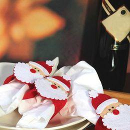 Wholesale Christmas Tree Napkin Rings - Wholesale- 12pcs  lot Christmas Decorations Santa Napkin Ring Table Decor Napkin Holder for Christmsa Hotel Napkin holder Table decoration