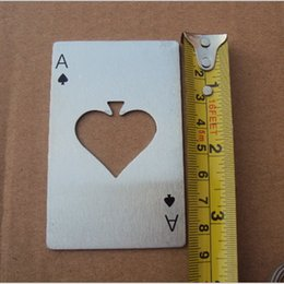 Wholesale White Wine Openers - Bottle Opener Tool Fashion Hot Stylish Poker Playing Card Ace of Spades Bar Tool Soda Beer Bottle Cap Opener Gift Wedding Party Favor