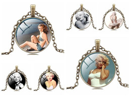 Wholesale Monroe Necklace - Brand new New time gem necklace Marilyn Monroe couple jewelry WFN517 (with chain) mix order 20 pieces a lot