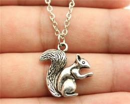 Wholesale Bronze Squirrel - Wholesale- WYSIWYG simple vintage antique bronze, antique silver color double sided Squirrel pendant necklace