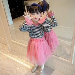 Wholesale Korean Long Skirt Wholesale - Cute Girls Stripe Tee+Tutu Skirt Outfits 2017 Fall Kids Boutique Clothing Korean Children Clothes 3-8Y Little Girls Tops Tutu Skirts Set