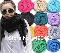 Wholesale Crinkle Cotton Scarves Wholesale - Wholesale-Wholesale New Hot Girl Women's Large Cotton Linen Long Crinkle Scarf Wraps Shawl Colorful Candy
