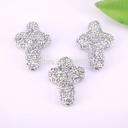 Wholesale Cross Connectors For Jewelry Making - 8Pcs Silver White Crystal Rhinestone Paved Cross Shape Connectors Beads For Jewelry Making