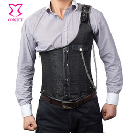 Wholesale Black Brocade Corset - Wholesale- Punk Rock Black Brocade Steel Boned Underchest Corset Steampunk Vest Men Waistcoats Slimming Colete Masculino Gothic Clothing