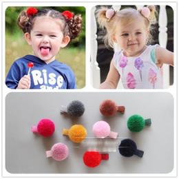Wholesale Wholesale Hair Barrettes Balls - HOT SALE 30 Pcs Small Pom pom Ball Hair Grips Girls' Hair Clips KIds Fashion accessories