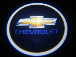 Wholesale Chevrolet Led Logo - 2Pc Chevrolet LED Courtesy Ghost Shadow Lights Door Logo Projectors GOBO Logo Courtesy Puddle Lamps