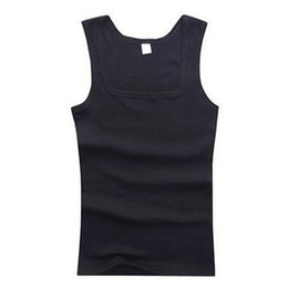 Wholesale Muscle Fit T Shirts - Wholesale- Men's Solid Simple Casual Sexy Tank Tops Men Fit Soft Square Collar Sleeveless Tops Blouse Tank Muscle T-shirts Clothes jersey