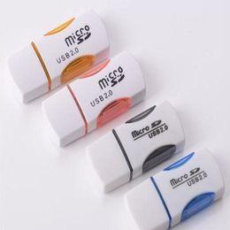Alta calidad USB 2.0 Lector de tarjetas T-flash lector de tarjetas ranura única adaptador de lector de tarjetas panda con luz LED rápido Envío desde fabricantes