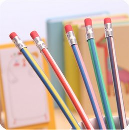 Wholesale Soft Eraser - Colorful Magic Bendy Flexible Soft Pencil With Eraser For Kids Writing Gift Student School Office Use lapis de cor