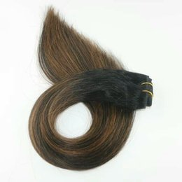 Wholesale Double Drawn Straight Remy Hair - Balayage Highlight Color Human Hair Extensions Mix Color 8 18 brown blonde, 1b brown Double Drawn Full Soft Virgin Remy Hair Weave