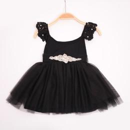 Wholesale Waist Tutu Dress - Botique New Girls lace dresses tutu rhinestone beads waist Sex black dresses 2017 Summer Ball Gown dress Girl Children clothing 2-7year