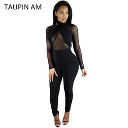Wholesale Halter Mesh Jumpsuit - Wholesale- TAUPIN AM Sexy black jumpsuit women Halter transparent mesh bodycon bandage jumpsuit long sleeve rompers back zipper club wear