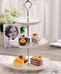 Wholesale Cake Stand Handles Wholesale - 100pcs New Arrival 3Tier 45g Cake Plate Stand Handle Fitting Silver Gold Wedding Party Crown Rod