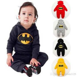 Wholesale Batman Rompers - RMY28 NEW infant Kids Spring Autumn Romper Batman Style long sleeve Hooded baby warm Climb clothing boy girl Winter Velvet Rompers set