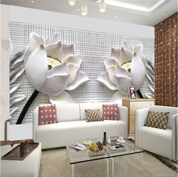 Wholesale Paper Flower Art - photo wallpaper wall painting modern art non-woven paper 3d TV contracted sitting white lotus flowers large mural wall paper