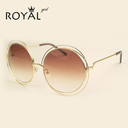 Wholesale Copper Shades - Wholesale-2016 NEW High Quality Elegant Round Wire Frame Sunglasses Women Mirror   gradient Glasses shades Oversized Eyeglasses ss076