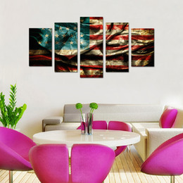 Wholesale American Flag Art - 5 Panels Retro American Flag Canvas Painting Wall Art Flag Picture Printed on Canvas for Home Living Room Decor Wooden Framed Ready to Hang