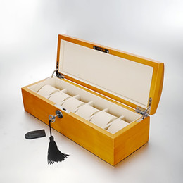Wholesale Wood Show Case - Free Shipping Luxury Wooden 6 Slot Watch Box Display Show case Storage Cases Collection Jewelry Storage Organizer Box case for wristwatch