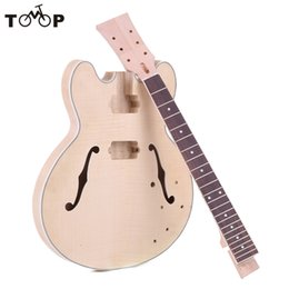Wholesale Diy Guitars Kits - Wholesale-New Arrival! Unfinished Electric Guitar DIY Kit Semi High Quality Hollow Basswood Body Rosewood Fingerboard Maple Neck