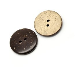 Wholesale Sew Buttons 25mm - Kimter Brown Coconut Shell Wooden Sewing Buttons With 2 Holes 25mm For Knitted Caps Cardigans Craft Garment Accessorie Pack Of 50pcs I600L