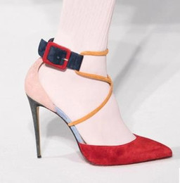 Wholesale Sexy Dress Fight - 2017 Fashion Spring And Summer New Leather Pointed High Heels Fight Color Fine Fashion Sexy Women'S Shoes