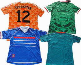 Wholesale Argentina Rugby - Sports 1998 World Cup Retro Shirts Mexico Green Netherland Germanys Argentina Brazil Retro Jerseys Beckham VAN BASTEN ZIDANE KLINSMANN
