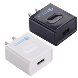 Wholesale Qualcomm Mobile Phones - Quick Charger 3.0 US Eu Qualcomm Travel wall Power Adapter Mobile Phone Charger for iphone 5 6 7 Samsung s6 s7 s8 edge pc tablet smart phone