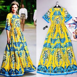 Elegant Design Women s Summer Flare Sleeve Printed Runway Maxi Long Plus  Size 4XL Vintage Dress Bohemian Dresses HIGH QUALITY 6f3d14d3aa4d