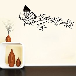Wholesale Decorative Flowers For Kids Room - 60*90cm Romantic Cute PVC Butterfly Wall Sticker Home Decor Flower Art Decal Wall Decals Living Room Sofa Background Decorative