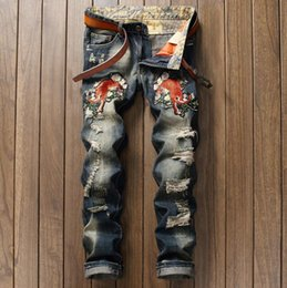 Wholesale Trousers Patch - New Brand Men's Tiger Patches Patchwork Hole Jeans Male Casual Straight Fit Denim Pants Long Trousers Free shipping #0792