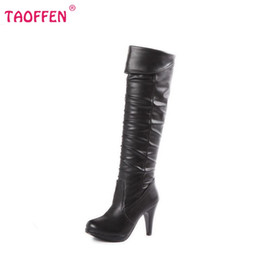 Wholesale Heels Boots Size 32 - Wholesale- size 32-48 women high heel over knee boots ladies fashion long snow boot warm winter botas heels footwear shoes P1888