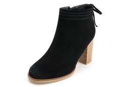 Wholesale Tan Ladies Pumps - Luxury Black Brown Suede Leather Pointed Toes Ankle Boots Womens Boots Fashion Designer Sexy Ladies High Heels Shoes Pumps