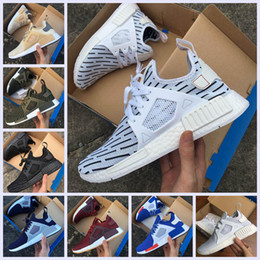 Wholesale Women Sport Shoes Designer - 2017 New NMD XR1 Primekint Blue White Captain America Women Men Running Shoes Sport Designer Sneaker Olive Green Nmd XR1 PK Size 36-45
