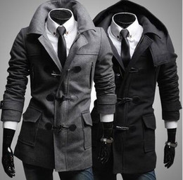 Wholesale Slim Wool Coat Men S - Wholesale- Men's Trendy Slim Fit Toggle Duffle Coat With Hoodie Black Grey Coats Notched Collar Windproof Stylish Dust Coat for Men Warmful