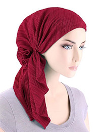 Wholesale pre fall - 2017 NEW women ruffle headscarf Chemo Hat Turban Head Scarves Pre-Tied Headwear Bandana Tichel for Cancer hair accessories