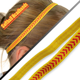 Wholesale Wholesale Skinny Headbands - Grip And Skinny Softball Headbands - Yellow Red Arrows (Pack of 3)
