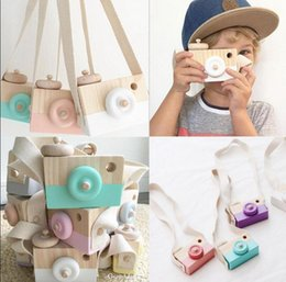Wholesale Wooden Photography Props - Wooden Mini Camera Toys Cute Neck Hanging Camera Photography Prop Children Kids Room Hanging Decor OOA2359