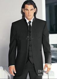 Wholesale Groom Tuxedos Black Mandarin Lapel - New Arrival Groom Tuxedos Mandarin Lapel Groomsmen Balck Men Wedding Prom Dinner Suits Best Man Bridegroom (Jacket+Pants+Tie+Vest) H340