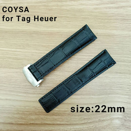 Wholesale Beige Leather Belt - COYSA for Tag Heuer New Soft Durable Watch Accessories Watches Bracelet Belt Genuine Leather Band Watch Strap 22 Watchbands