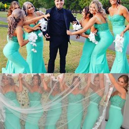 Wholesale Cheap Gorgeous Bridesmaid Dresses - Gorgeous Spaghetti Long Bridesmaid Dresses 2018 Lace Appliques Mermaid Maid Of Honor Gowns Wedding Guest Formal Party Dress Cheap