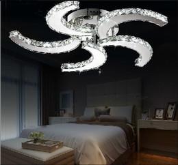 Wholesale Led Modern Ceiling Lights - New modern lustre Led crystal ceiling fan lights for living room bed room study room home decorative lighting lamps LLFA